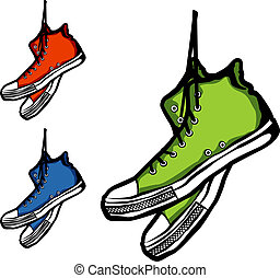 Sneakers - Hand-drawn set of three sneakers, vector...