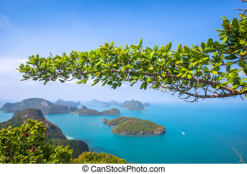 A Beach of Angthong Marine National Park. View from mountain...