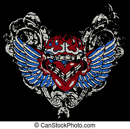 fire heart with wing