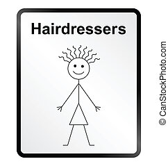 Hairdressers Information Sign - Monochrome comical...
