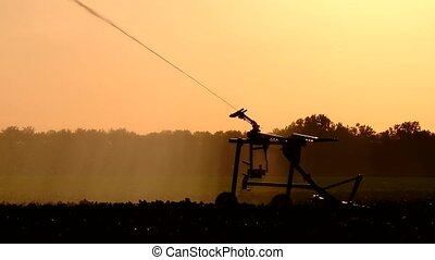 sprinkler system - watering a field - video footage in...