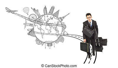 tired business man pulling all baggages for worldwide trip