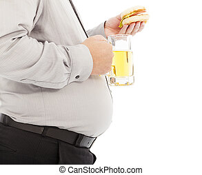 fat business man holding beer mug and hamburger