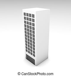 Office Building in 3d Clip Art Illustration