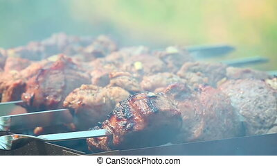 Barbecue - Meat being roasted on a grill