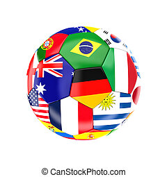 Brazil soccer ball - different country soccer ball 3d image...