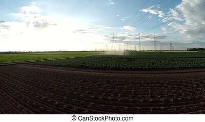 Aerial of a irrigation plant - Aerial video footage of...