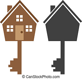 House Key - Key house symbol with silhouette version