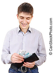 Teenager holds Russian Currency - Happy Teenager take out...