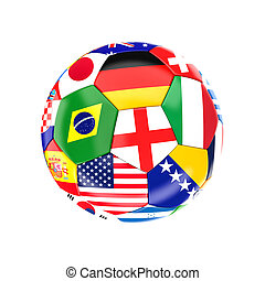 multi soccer ball - different country soccer ball 3d image...