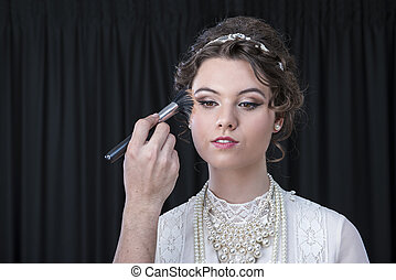 Neo-Victorian model being made up