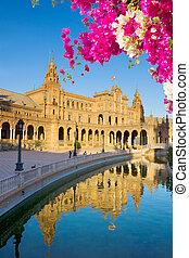 square of Spain in Seville, Spain - square of Spain, in...