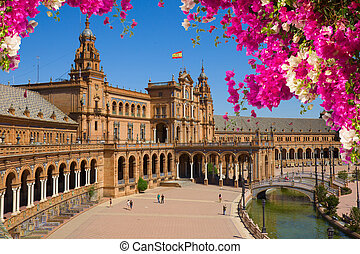 famouse square of Spain in Seville, Spain - Famouse square...