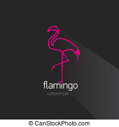 vector stylish flat design pink flamingo Icon - vector...
