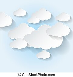 Paper clouds on light blue sky background. Cloud computing