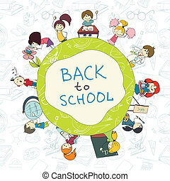 Kids school emblem sketch poster - Decorative kids back to...