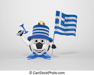 Soccer character fan supporting Greece