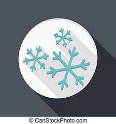 paper flat icon, snow - paper flat icon with a shadow. snow