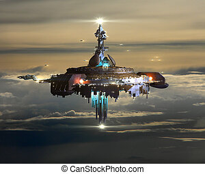 Alien Mothership above Earth - Alien mothership near Earth,...