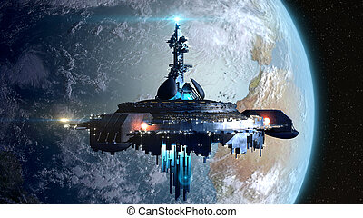 Alien Mothership near Earth - Alien mothership near Earth,...