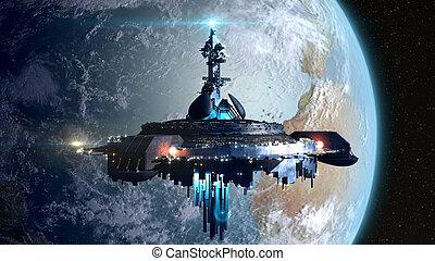Alien Mothership near Earth - Alien mothership near Earth,...