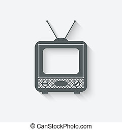 old television icon - vector illustration eps 10