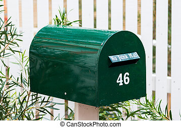 Green Mail Box - Green mail bos with the number 42 on it.