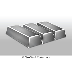 Platinum ingots isolated Vector illustration