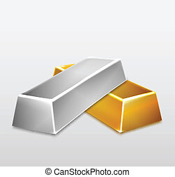 Golden and Silver Bars on white background. Vector