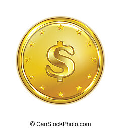 vector illustration of gold coin - vector art illustration...