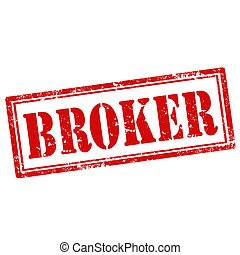 Broker-stamp - Grunge rubber stamp with text Broker,vector...