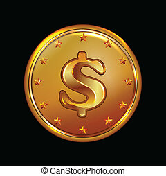 vector illustration of bronze coin - vector art illustration...