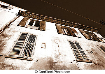 Buildings in Aix-en-provence - Building with shutters on...