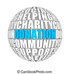 Donation. - circle words on the ball on the topics