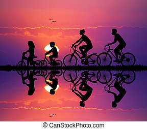 Family cycling - illustration of family cycling at sunset