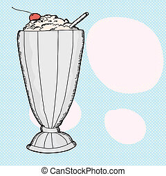 Vanilla Milkshake - Vanilla milkshake with cherry over blue...
