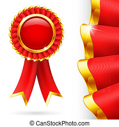 Red award ribbon - Shiny red award ribbon with golden edging...