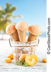 conos, albaricoque, hielo, cucharadas, mancha, playa, crema