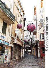Buildings in , France - Buildings with balconies and street...