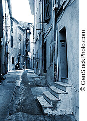 Street in Cannes - Street with old buildings in Cannes,...