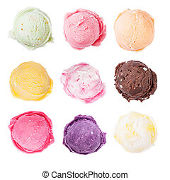 Set of ice cream scoops on white background - Studio shot of...