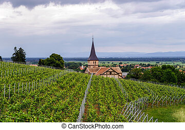 Old medieval church in Alsace - Old medieval church small...
