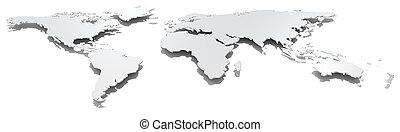 Wide image world map. - Front view of thin steel world map....