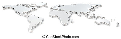 World map. - Front view of steel world map. Wide image.