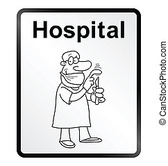 Hospital Information Sign - Monochrome comical Hospital...