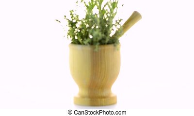Green herb leafs sprigs in an wood mortar over white...