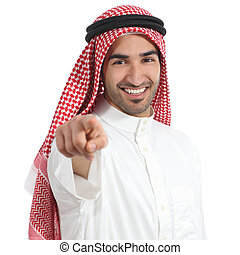 Arab saudi emirates man pointing you at camera isolated on a...