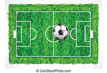top view of an empty soccer field with realistic grass texture,