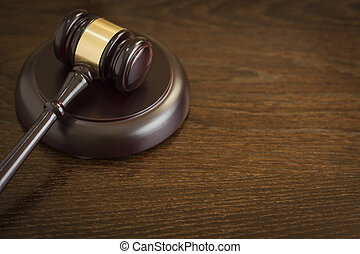 Wooden Gavel Abstract on Table - Dark Wooden Gavel Abstract...