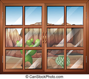 A closed window at the desert - Illustration of a closed...